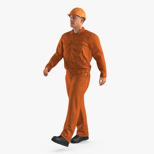 worker orange uniform hardhat 3d 3ds