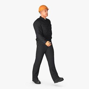 worker hardhat walking pose 3d model