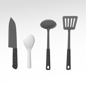 kitchen tools 3d lwo