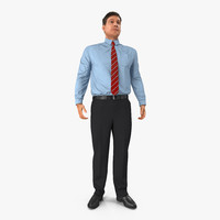 3d office worker standing pose model