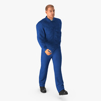 worker blue overalls walking 3d max