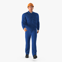 worker blue overalls hardhat 3ds