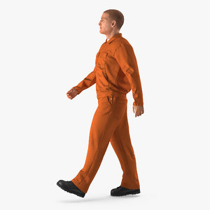 worker orange uniform walking 3d max