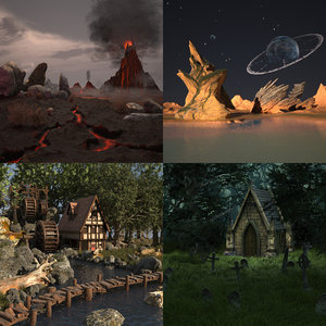 3d scene landscape cartoon house model