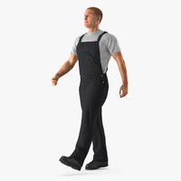 3d construction worker black overalls