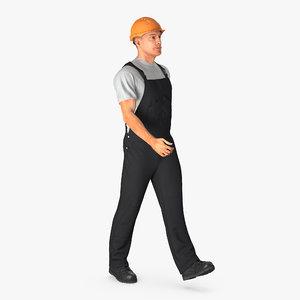 3d construction worker black overalls