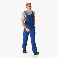 construction worker blue uniform 3d model