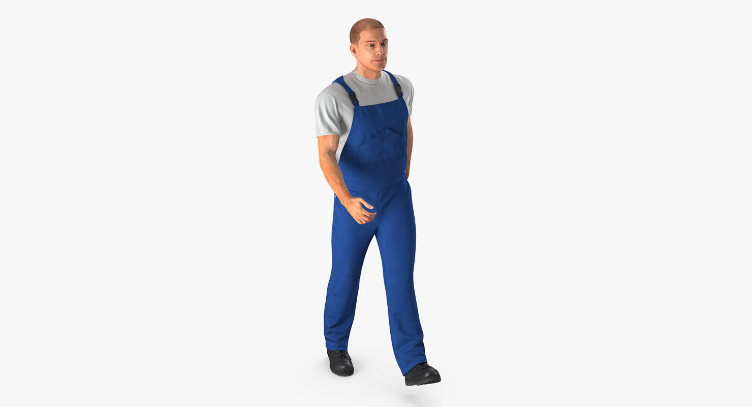 construction worker blue uniform 3d model