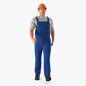 3d model construction worker blue uniform