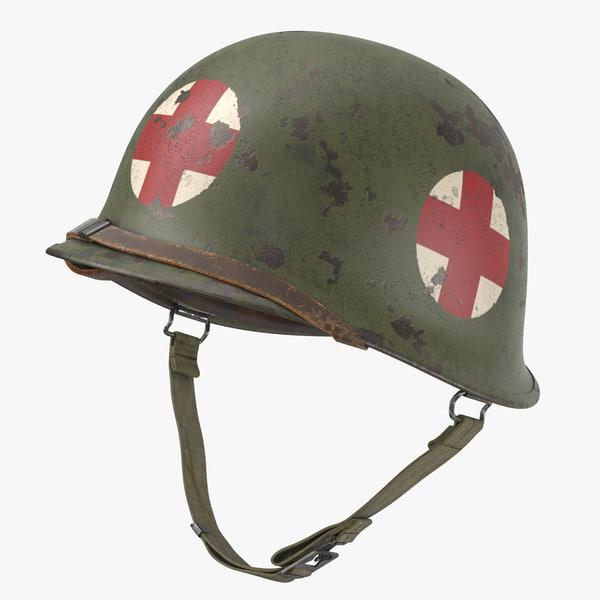 medic helmet m1 red cross 3d model