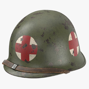 medic helmet m1 red cross 3d model