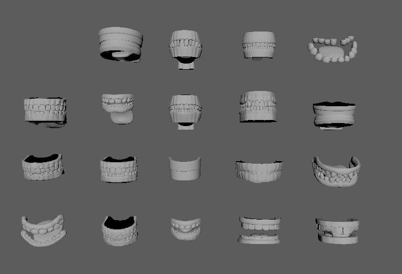 character teeths gums tongues 3d model
