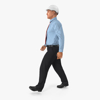 3d model construction engineer hardhat walking