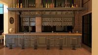3d restaurant scene interiors model