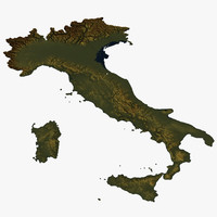 3D relief of Italy