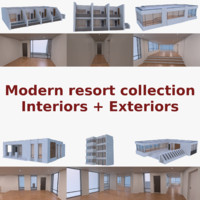 3d modern resort buildings interior model