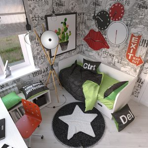 3d teenage girl room