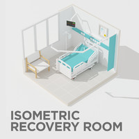 3d isometric hospital recovery room