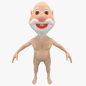 3d model cartoon naked old man