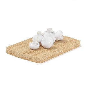 mushrooms wooden board 3d max