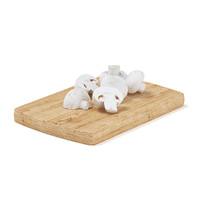 3d sliced mushrooms wooden board