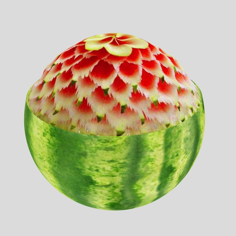 carved water melon 3d max