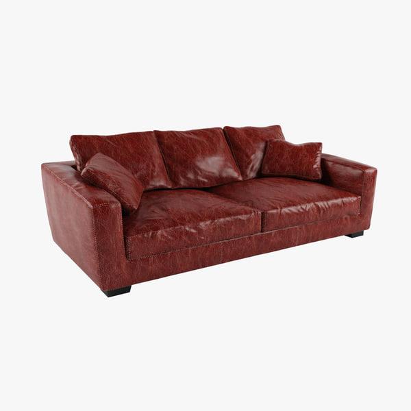 3d model modern leather sofa