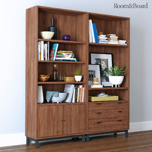 3d room board bookcases accessories model