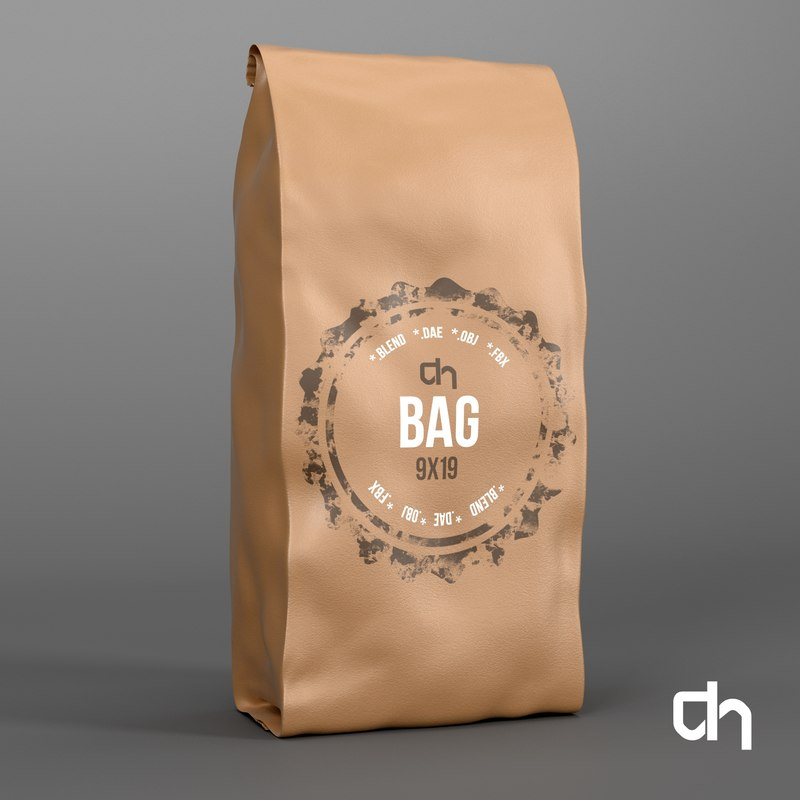 brown bag 3d obj