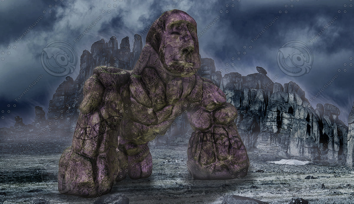 3d model of stone golem bro