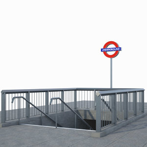 london undeground entrance 3d model