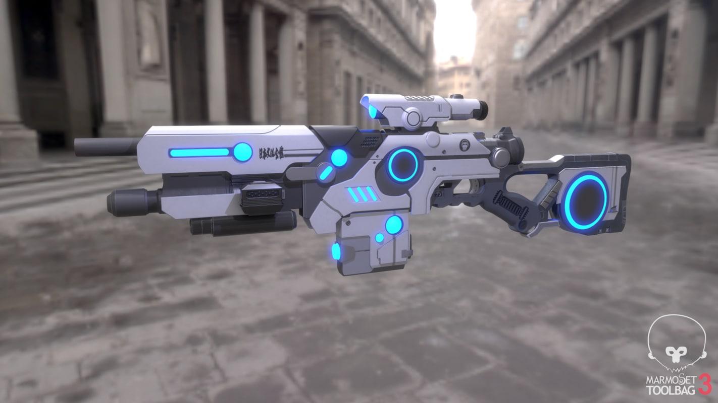 sci-fi weapon fbx