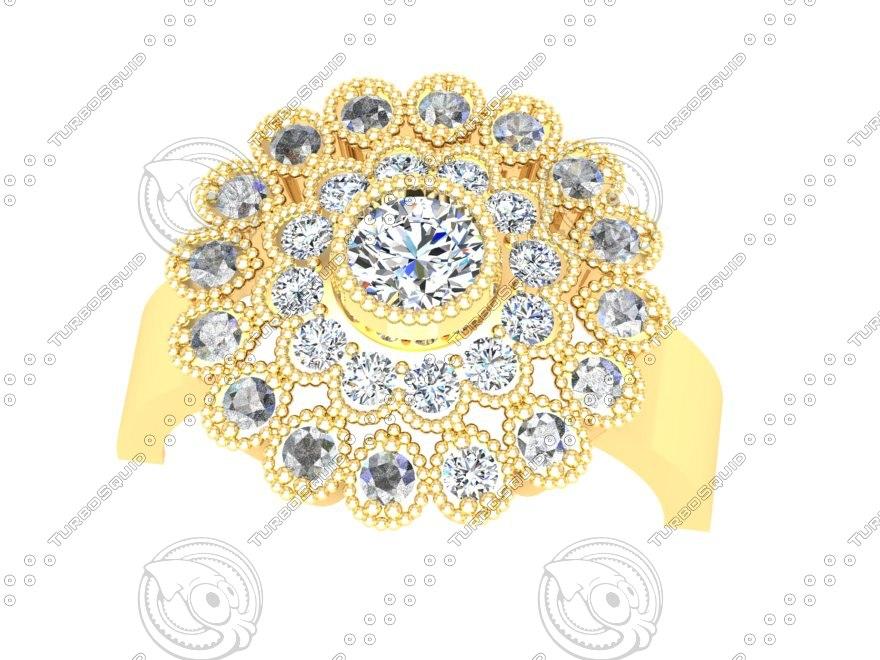 diamond beads ring 3d 3dm