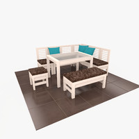 wooden dining set table 3d model