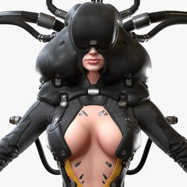 cyber girl 3d obj