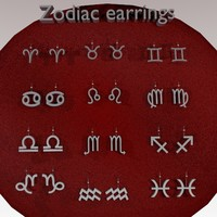 3d zodiac earrings