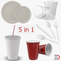 3d disposable tableware cutlery model