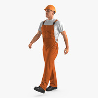 builder wearing orange coveralls 3d max