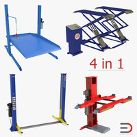 car lifts rigged 2 3d model