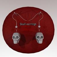 3d earrings skull model