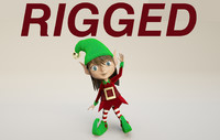 3d christmas elf character