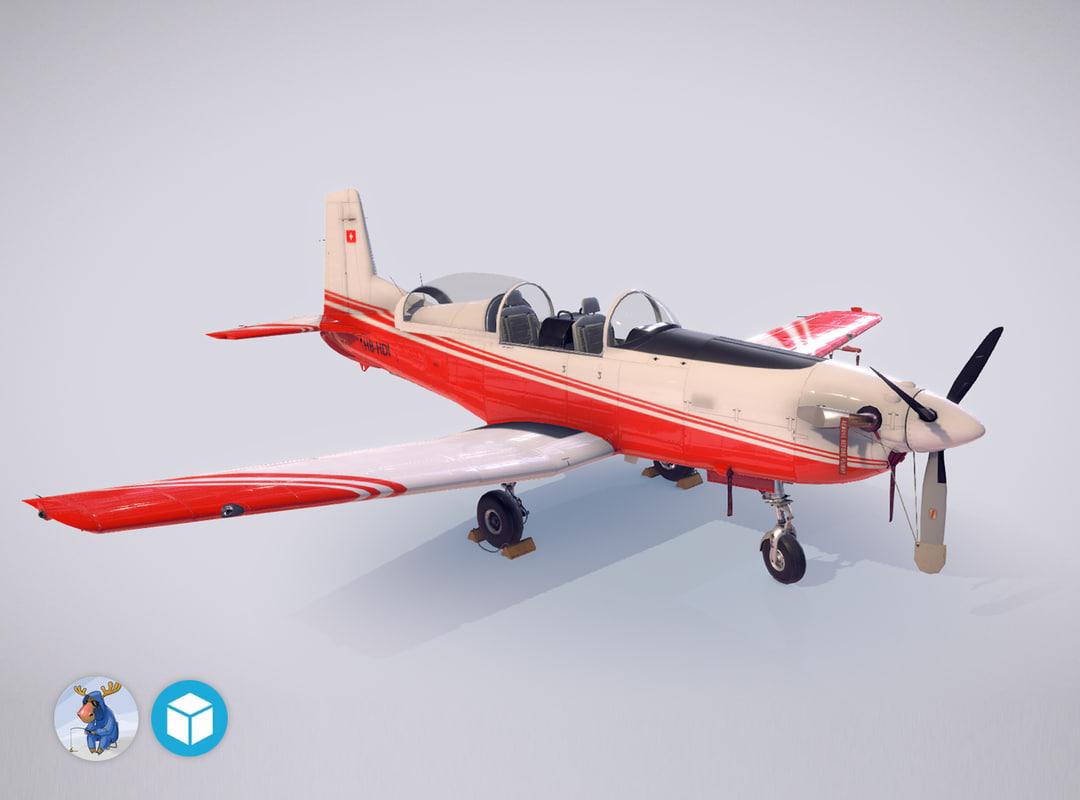 3d low-poly pilatus pc-7 mk-i model