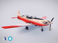 3d low-poly pilatus pc-7 mk-i model