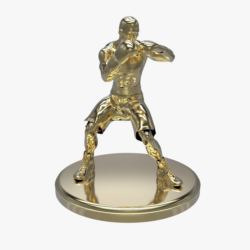 gold boxer statue c4d