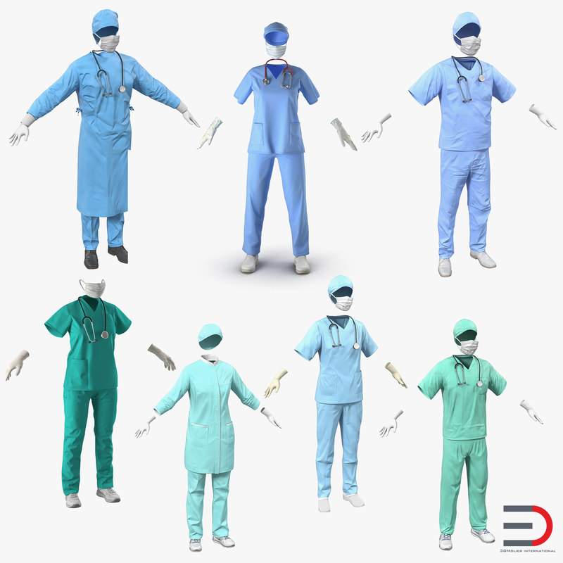 3d doctor clothing 6 surgeon model