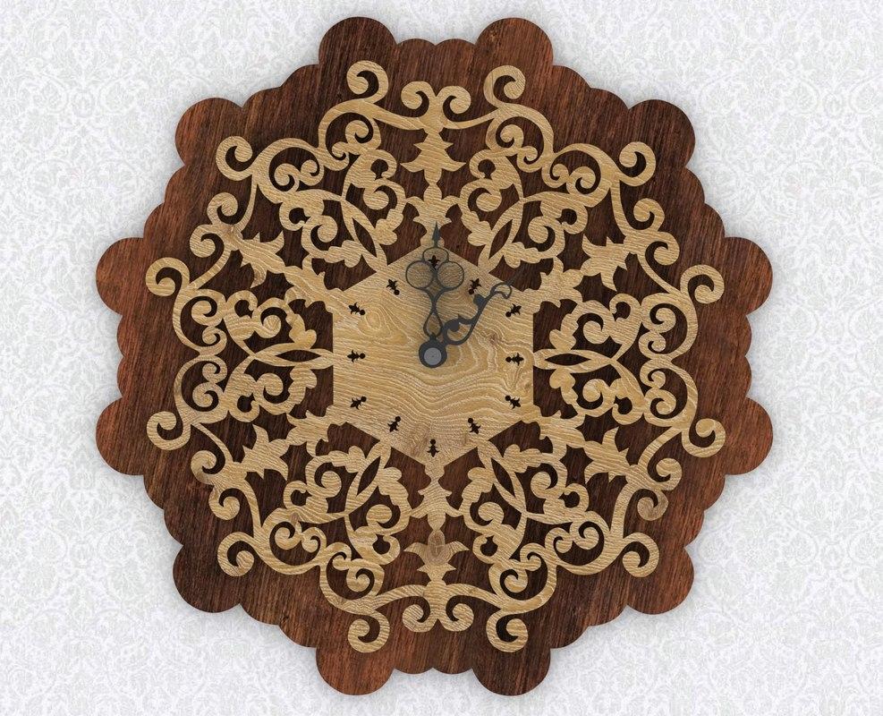 3d model wooden wall clock