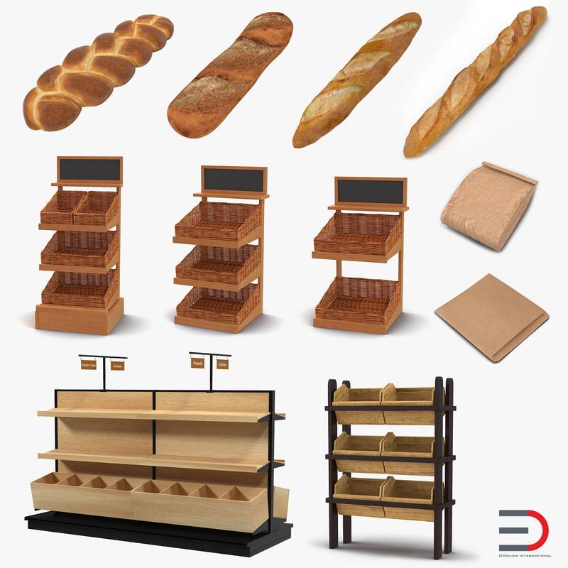 3d bakery paper bag baguette model