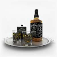 3d 3ds jack daniels whiskey set