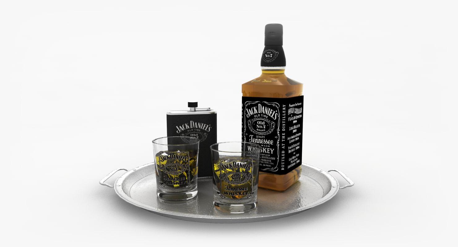 3d 3ds jack daniels whiskey set