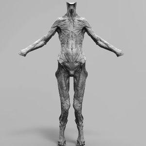 alien monster body 3d model